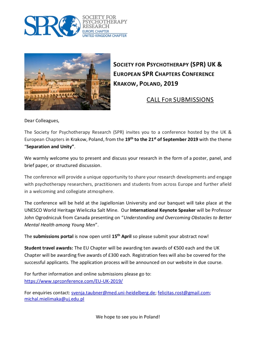 Flyer for SPR EU-UK joint Chapters conference, 19-21 Sep 2019 in Krakow, Poland